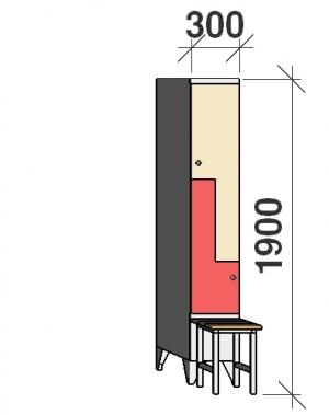 Z-skåp, 2 dörrar, 1900x300x845, med bänk