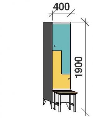 Z-skåp, 2 dörrar, 1900x400x845, med bänk