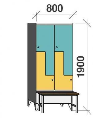Z-skåp, 4 dörrar, 1900x800x845, med bänk
