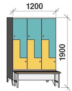 Z-skåp, 6 dörrar, 1900x1200x845, med bänk