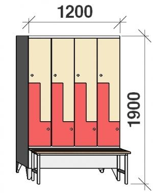 Z-skåp, 8 dörrar, 1900x1200x845, med bänk