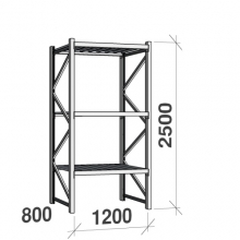Lagerhylla startsektion 2500x1200x800 600kg/hyllplan,3 hyllor