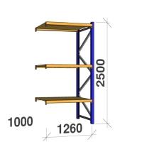 Följesektion 2500x1260x1000 450kg/hyllplan 3 hyllor, spånskiva