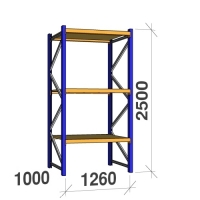Startsektion 2500x1260x1000 450kg/hyllplan,3 hyllor, spånskiva