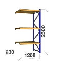 Följesektion 2500x1260x800 450kg/hyllplan 3 hyllor, spånskiva