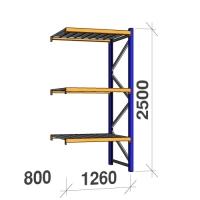 Följesektion 2500x1260x800 450kg/hyllplan 3 hyllor, zinkplåt