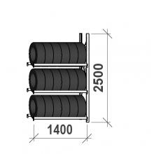 Däckställ följesektion 2500x1400x500, 3 hyllplan,600kg/plan