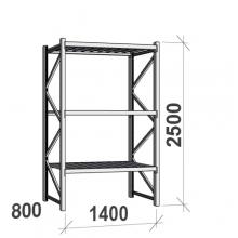 Lagerhylla startsektion 2500x1400x800 600kg/hyllplan,3 hyllor