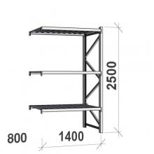 Lagerhylla följesektion 2500x1400x800 600kg/hyllplan,3 hyllor