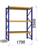 Startsektion 2500x1790x1000 360kg/hyllplan,3 hyllor, spånskiva