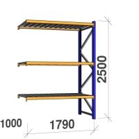 Följesektion 2500x1790x1000 360kg/hyllplan 3 hyllor, zinkplåt