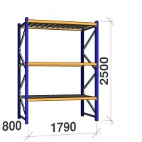 Startsektion 2500x1790x800 360kg/hyllplan,3 hyllor, zinkplåt