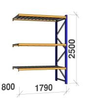 Följesektion 2500x1790x800 360kg/hyllplan 3 hyllor, zinkplåt