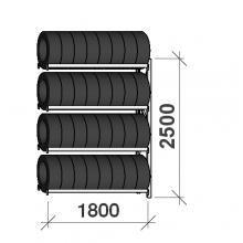 Däckställ följesektion 2500x1800x500, 4 hyllplan,480kg/plan