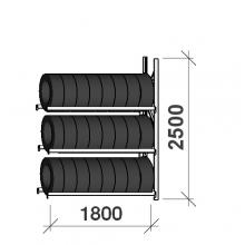 Däckställ följesektion 2500x1800x500, 3 hyllplan,480kg/plan