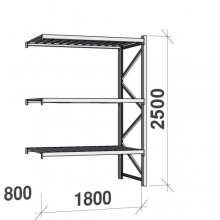Lagerhylla följesektion 2500x1800x800 480kg/hyllplan,3 hyllor