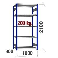 Lagerhylla startsektion 2100x1000x300 200kg/hyllplan,5 hyllor, blå/ljusgrå