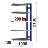 Lagerhylla följesektion 2100x1000x400 200kg/hyllplan,5 hyllor, blå/ljusgrå