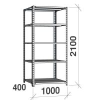 Metallhylla 2100x1000x400, 5 hyllor, 120kg/hyllplan, grå