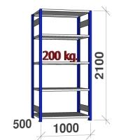 Lagerhylla startsektion 2100x1000x500 200kg/hyllplan,5 hyllor, blå/ljusgrå
