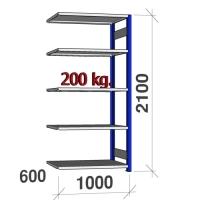 Lagerhylla följesektion 2100x1000x600 200kg/hyllplan,5 hyllor, blå/ljusgrå