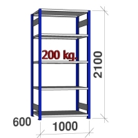 Starter bay 2100x1000x600 200kg/shelf,5 shelves, blue/Zn
