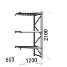 Lagerhylla följesektion 2100x1200x500 600kg/hyllplan,3 hyllor