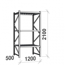 Lagerhylla startsektion 2100x1200x500 600kg/hyllplan,3 hyllor