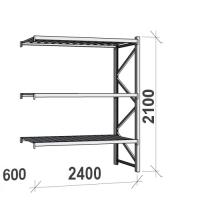 Lagerhylla följesektion 2100x2400x600 300kg/hyllplan,3 hyllor