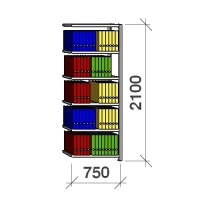 Extension bay 2100x750x400 200kg/shelf,6 shelves