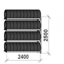 Däckställ följesektion 2500x2400x500, 4 hyllplan,300kg/plan