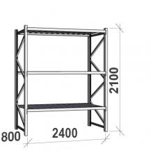 Lagerhylla startsektion 2100x2400x800 300kg/hyllplan,3 hyllor