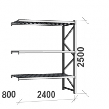 Lagerhylla följesektion 2500x2400x800 300kg/hyllplan,3 hyllor
