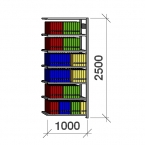 Arkivhylla följesektion 2500x1000x400 150kg/hyllplan,7 hyllor