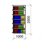 Arkivhylla följesektion 2500x1000x300 200kg/hyllplan,7 hyllor