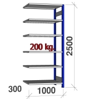 Lagerhylla följesektion 2500x1000x300 200kg/hyllplan,6 hyllor, blå/ljusgrå