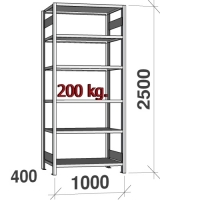 Lagerhylla startsektion 2500x1000x400 200kg/hyllplan,6 hyllor
