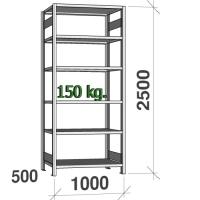 Lagerhylla startsektion 2500x1000x500 150kg/hyllplan,6 hyllor