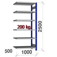 Lagerhylla följesektion 2500x1000x500 200kg/hyllplan,6 hyllor, blå/ljusgrå