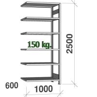 Lagerhylla följesektion 2500x1000x600 150kg/hyllplan,6 hyllor