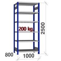Lagerhylla startsektion 2500x1000x800 200kg/hyllplan,6 hyllor, blå/galv