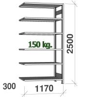 Lagerhylla följesektion 2500x1170x300 150kg/hyllplan,6 hyllor