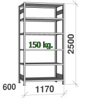 Lagerhylla startsektion 2500x1170x600 150kg/hyllplan,6 hyllor