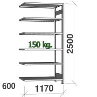 Lagerhylla följesektion 2500x1170x600 150kg/hyllplan,6 hyllor