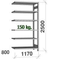 Lagerhylla följesektion 2500x1170x800 150kg/hyllplan,6 hyllor