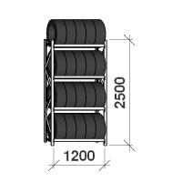 Däckställ startsektion 2500x1200x500, 4 hyllplan