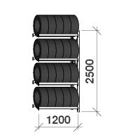 Däckställ följesektion 2500x1200x500, 4 hyllplan