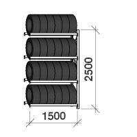 Däckställ följesektion 2500x1500x500, 4 hyllplan