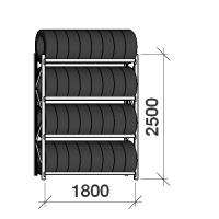 Däckställ startsektion 2500x1800x500, 4 hyllplan