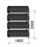 Däckställ följesektion 2500x1800x500, 4 hyllplan